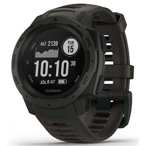 Garmin Instinct Graphite Rugged Outdoor GPS Watch w Long-Lasting Battery Life