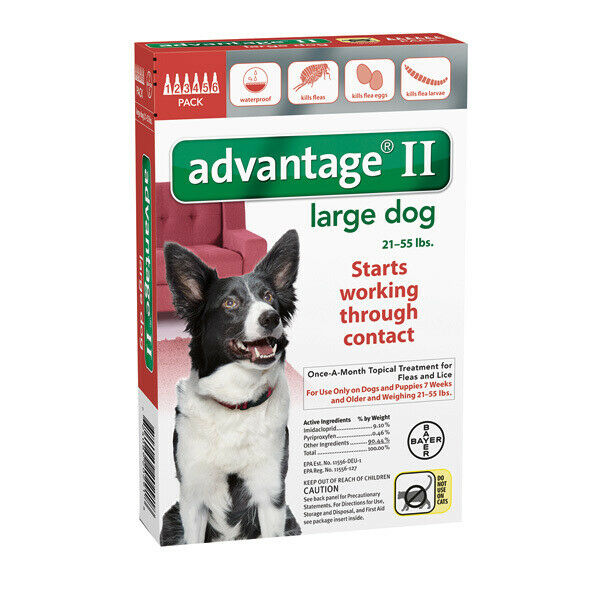Bayer Advantage II For Dogs 21-55lbs - 6 Pack (US EPA Approved)