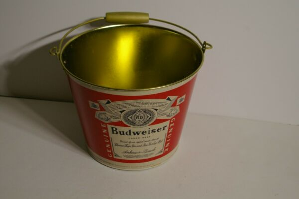 Budweiser Bud Beer  Galvanized Metal Ice Bucket Party Snack Pail  Mancave