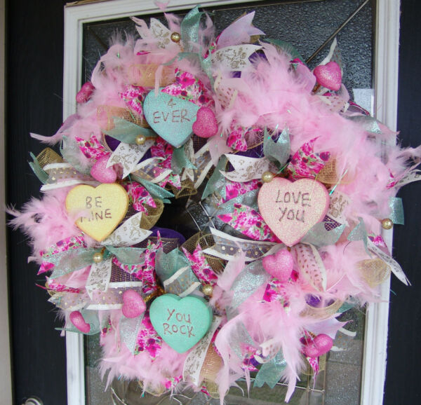 Conversation Hearts Valentines Day Eye Candy Deco Mesh Front Door Wreath Decor