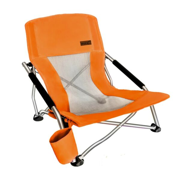 Folding Beach Chair With Cup Holder Portable Camping Ultralight Compact Orange