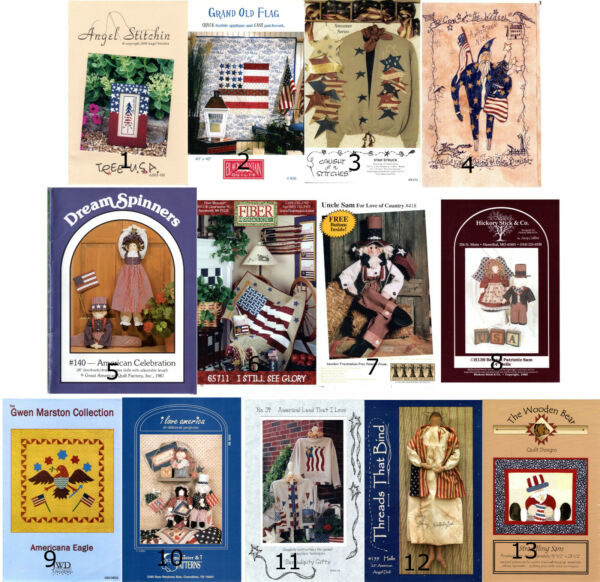 CHOICE: Craft Patterns & Instruction Packs Patriotic Quilts Dolls Decor