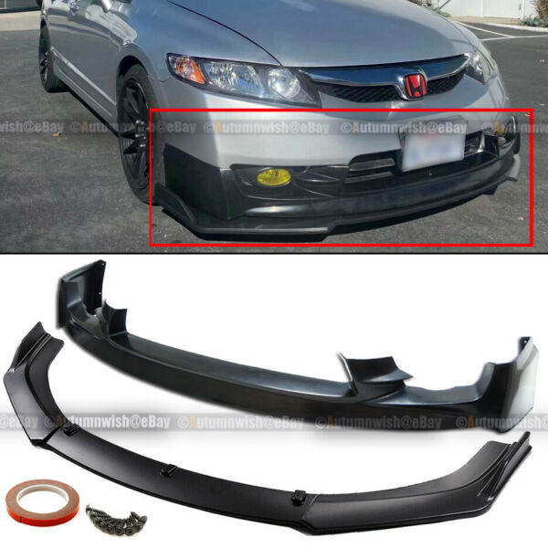 Fit 09-11 Civic 4Dr Sedan Mug-en Style Upper CS Lower Front Bumper Lip Spoiler