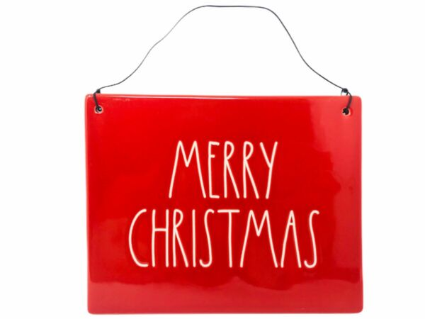 Rae Dunn Merry Christmas Red Ceramic Wall Plaque Hanging Sign With Wire Letters