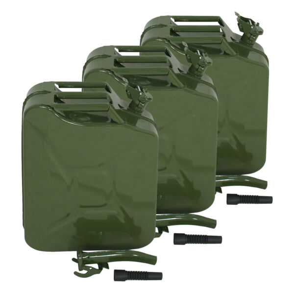 3X Jerry Can 5 Gallon 20L Gas Gasoline Fuel Army Army Backup Metal Steel Tank