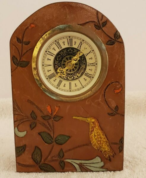 Vintage Working NARCO Leather Birds Mini Beehive Mechanical Wind-Up Mantel Clock