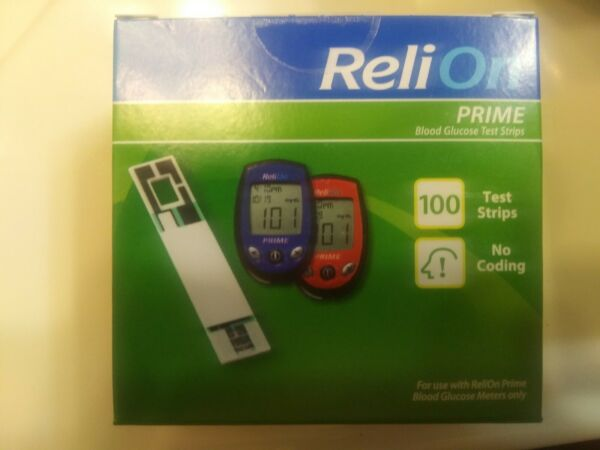 ReliOn Prime Blood Glucose Test Strips 100 Count EXP 062021+ free shipping !