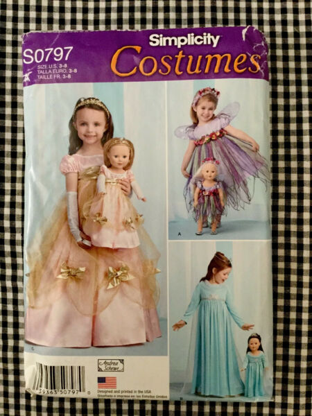 Simplicity S0797 1305 Childs Costumes and Costume for 18#x27; Doll Size Girls 3 6 $2.50