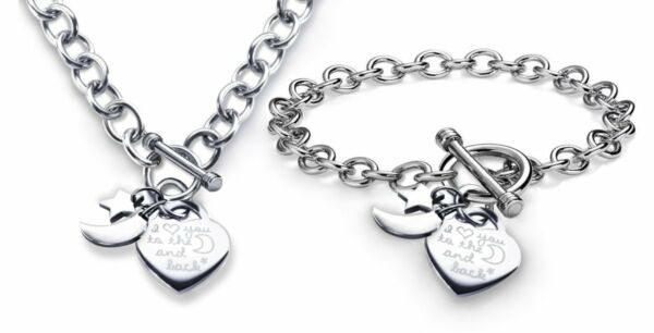 Charm Necklace Bracelet Heart Toggle I Love You To The Moon and Back Set S.Steel