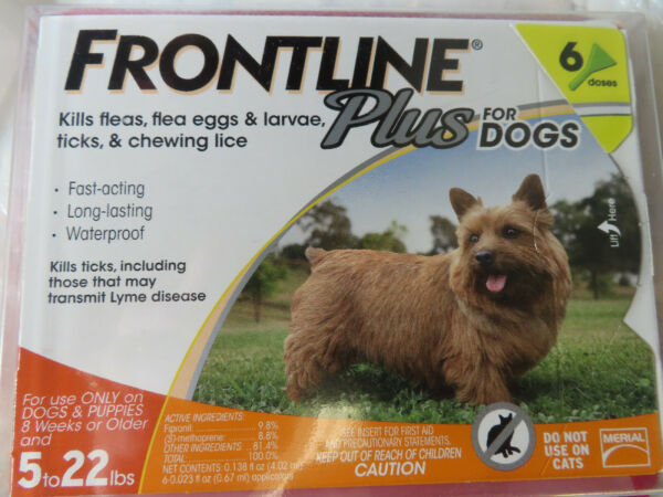 FRONTLINE PLUS DOGS 5-22Lbs FLEA & TICK CONTROL 6 DOSES NEW SEALED
