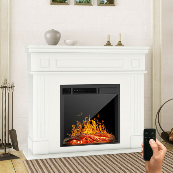 Electric Fireplace Heater w Wood Mantel Cabinet Remote Control LED Logs White