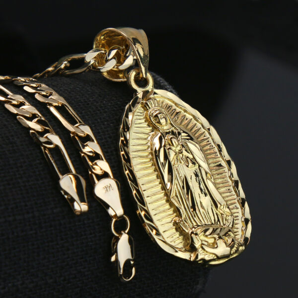 Guadalupe Width 14k Gold PT Charm Pendant 5mm 24quot; Figaro Necklace Choker Chain