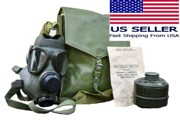 Military Tactical Full Face Gas Mask Respirator M74 w 40mm Filter amp; Carry Bag