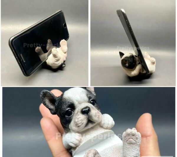 Cute Dog puppy Animal Desk Phone Stand Frenchie Adorable Statue Cellphone Holder $12.99
