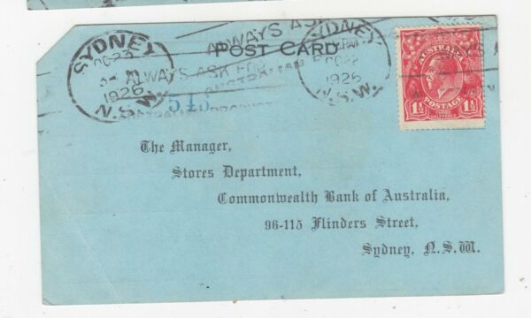 AUSTRALIA KGV 1 1 2d Postal Card1926 Commonwealth Bank Pay Envelope Order