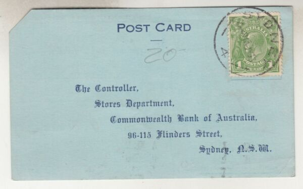 AUSTRALIA KGV 1d. Green Postal Card1933 Commonwealth Bank Pay Envelope Order