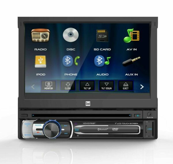 Dual 7quot; 1 DIN In Dash Bluetooth DVD CD Receiver w Flip Out Touchscreen
