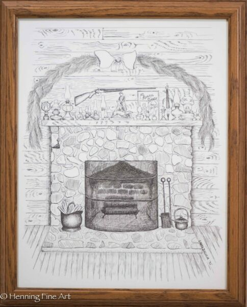 Original Ink Drawing of Christmas Scene w Fireplace Antique Oil Lamps Signed 1