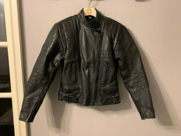 VINTAGE WOMENS BELSTAFF DISTRESSED LEATHER TWIN TRACK MOTORCYCLE JACKET SIZE 12 GBP 79.00