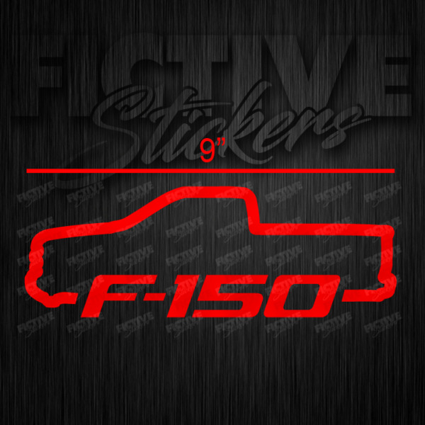 Ford F 150 Single Cab Truck Outline Decal 9quot; RED