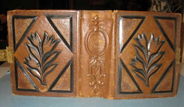 ANTIQUE 1800's SMALL TOOLED LEATHER PHOTO ALBUM BRASS CLASP WILL HOLD 50 PHOTOS