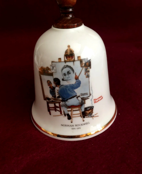 Norman Rockwell collectible bell Triple Self Portrait 1979 Danbury Mint $22.00