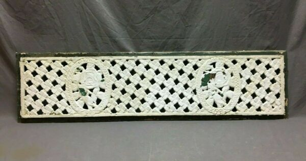 Antique Cast Iron Rose Fireplace window Vent Grill 12x46 Old Grate Vtg 255-20B