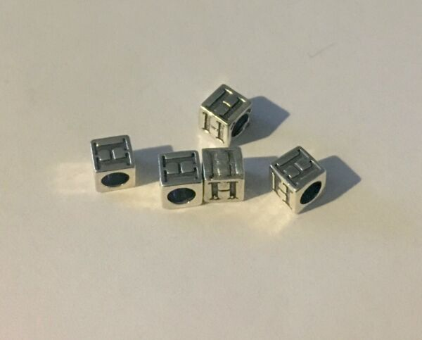 Sterling Silver .925 Letter Cube Block Alphabet Bead New 5.5 Jewelry