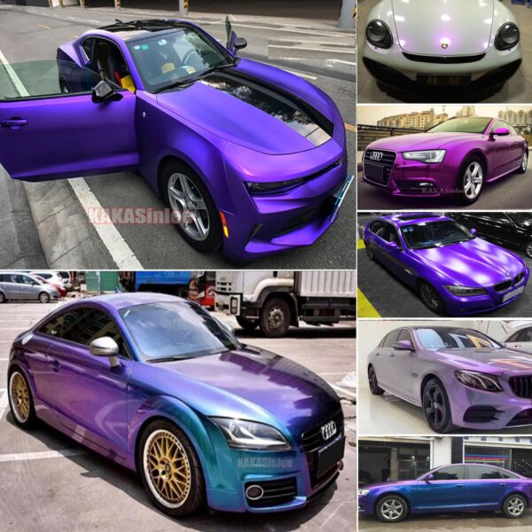 Purple - Magic Satin Brushed Mirror Chrome Pearl Metal Car Vinyl Wrap Sticker US