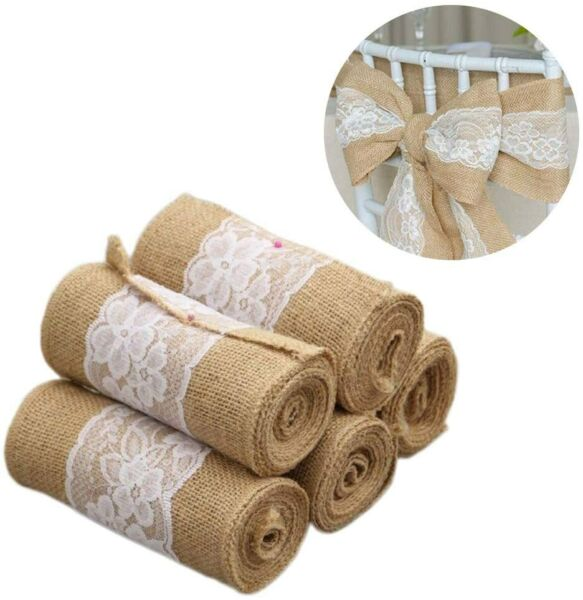 5Pc Burlap Lace Chair Sashes Bows Party Decoration for Rustic Wedding DIY Crafts