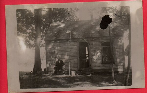 RPPC PIONEER OH MAN BY COTTAGE W  FISHING POLES PAIL  BETZER MONTPELIER 1911