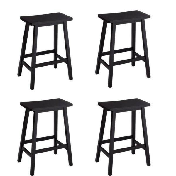 Set of 4 Bar Stools Home Kitchen Dining Room Saddle Seat Wooden Pub Chair Black