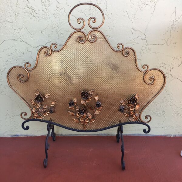 Antique Very Ornate Fireplace Screen Iron Base Brass Screen Roses