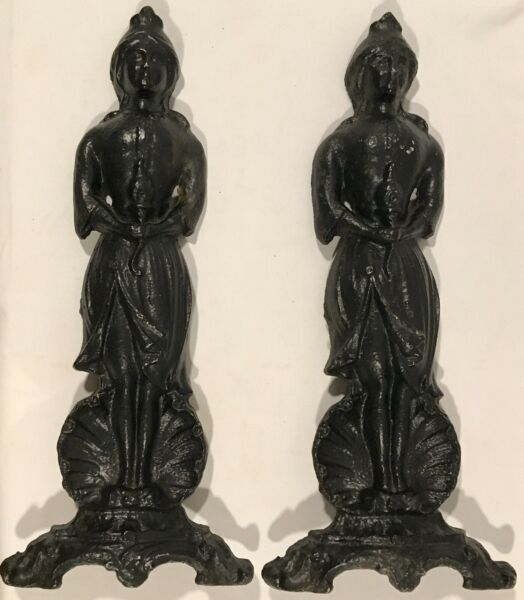 """Pair of Antique Lady Liberty Cast Iron Fireplace Andiron Fire Dogs - 17 12"""" H"""