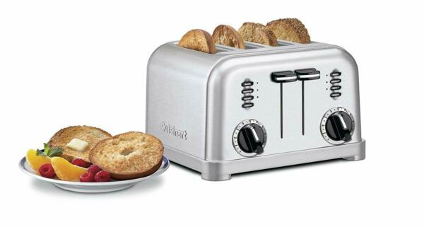 CUISINART 4 SLICE TOASTER Modern Style Brushed Stainless Metal w CRUMB TRAYS