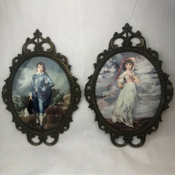 Vintage Boy Blue And Pinkie Girl Vintage Set. Metal Frame With Oval Glass  Italy