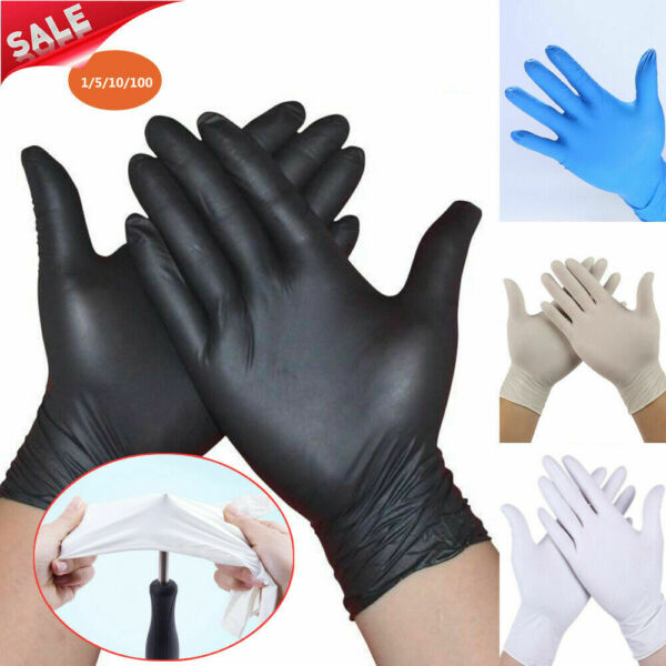 100Pcs Rubber Comfortable Disposable Mechanic Nitrile Gloves Black Exam SMLXL