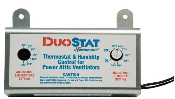 Ventamatic XXDUOSTAT Adjustable Dual ThermostatHumidistat Control for Power Att