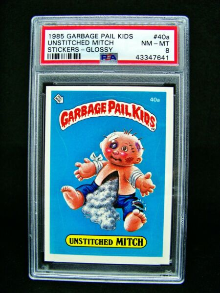 GARBAGE PAIL KIDS 1985 1st Series 40a Unstitched Mitch - GLOSSY OS1 Graded PSA 8