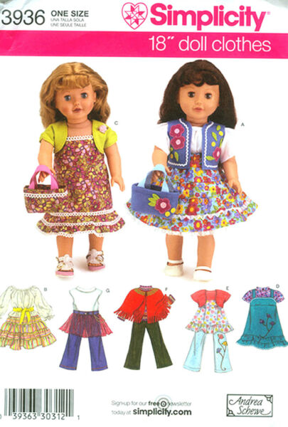 Simplicity Pattern 3936  for Doll Clothes for 18