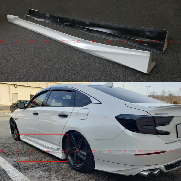 For 2018 2021 Honda Accord Platinum White Pearl Add on JDM Side Skirt Extensions $179.99