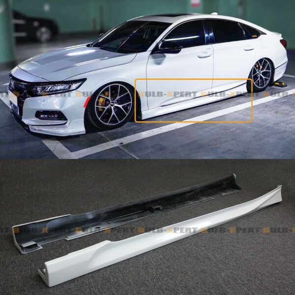 For 2018 2020 Honda Accord Platinum White Pearl Add on JDM Side Skirt Extensions