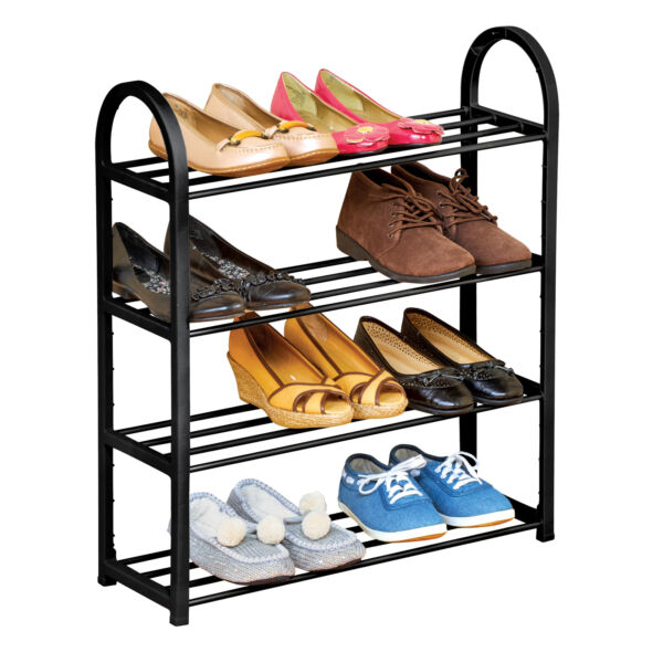 Black 4 Tier Metal Shoe Rack Holds 12 Pairs