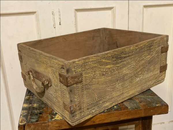 Ancient Wood Hand Carved Iron Work Handle Beautiful Basket Box Crate Box