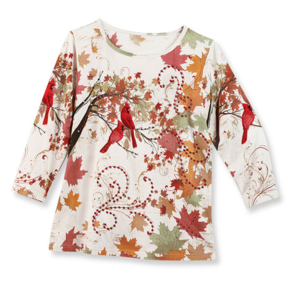 Embellished Fall Leaves Red Bird Sequins 3 4 Sleeve Top $12.99