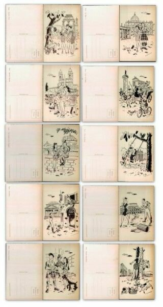 U.S. ARMY-ARTIST GIAMMUSSO-WW2 ALLIES IN ITALY-HUMOUR-ROMA-SET 10 CARDS-A25-167
