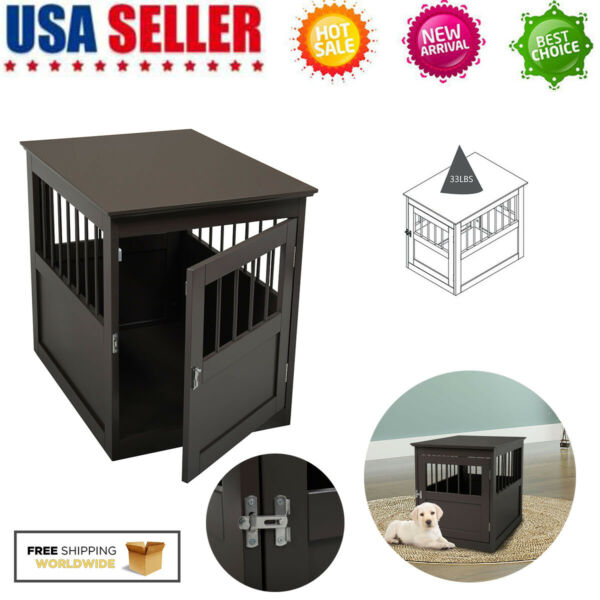 Pet Crate End Table Wooden Dog Furniture Puppy Kennel Indoor Cage Bed House $72.59