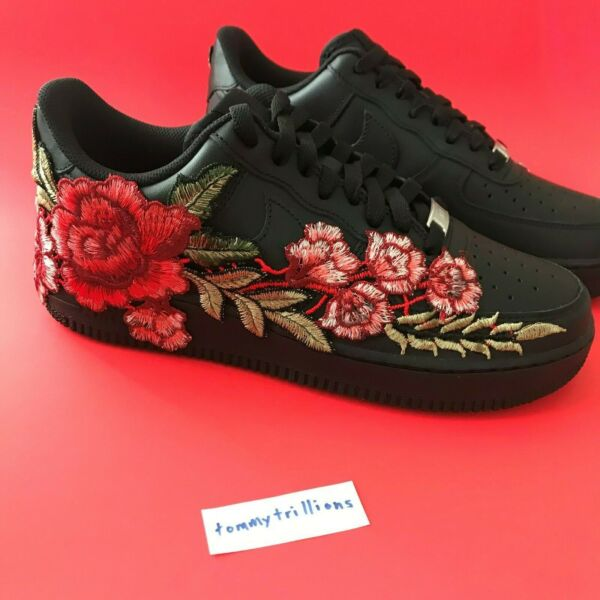 Custom Nike Air Force 1 Shoes FREE SHIPPING Black Flower
