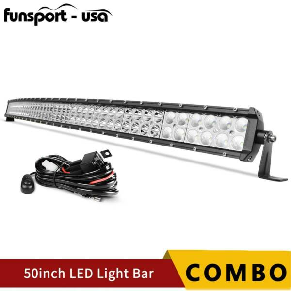 Curved 50inch 700W LED Light Bar Flood Spot Roof Driving Truck RZR SUV 4WD 52#x27;#x27;