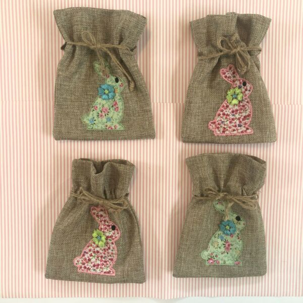 Pier 1 Set of 4 Burlap Utensil Holders Cutlery Pouch Easter Spring Bunny Floral